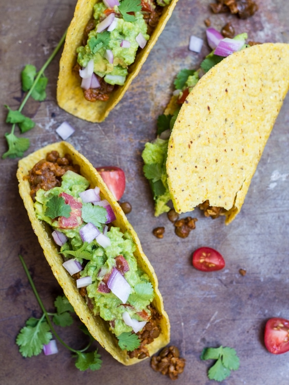 Seasoned lentils and bulgur stand in for taco meat in these easy vegan tacos!