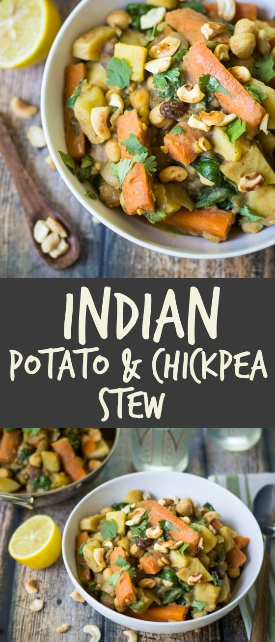 (Vegan!) Indian Potato Chickpea Stew: Spiced potatoes, chickpeas and carrots are simmered in a savory vegetable broth with spinach and plump raisins. Toasted cashews and fresh lemon juice add crunch and freshness to this hearty meal!
