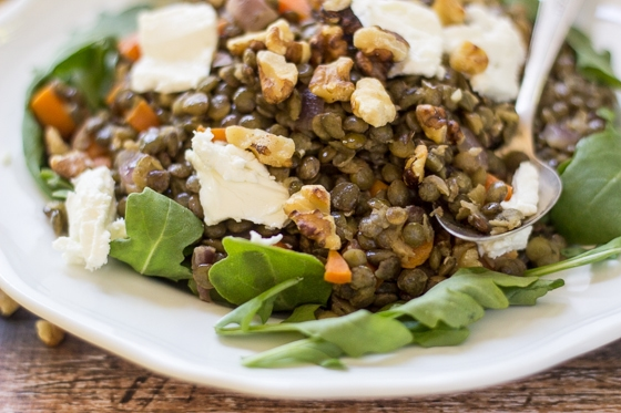 Toasted walnuts and fresh goat cheese make this classic French Lentil Salad a special treat!