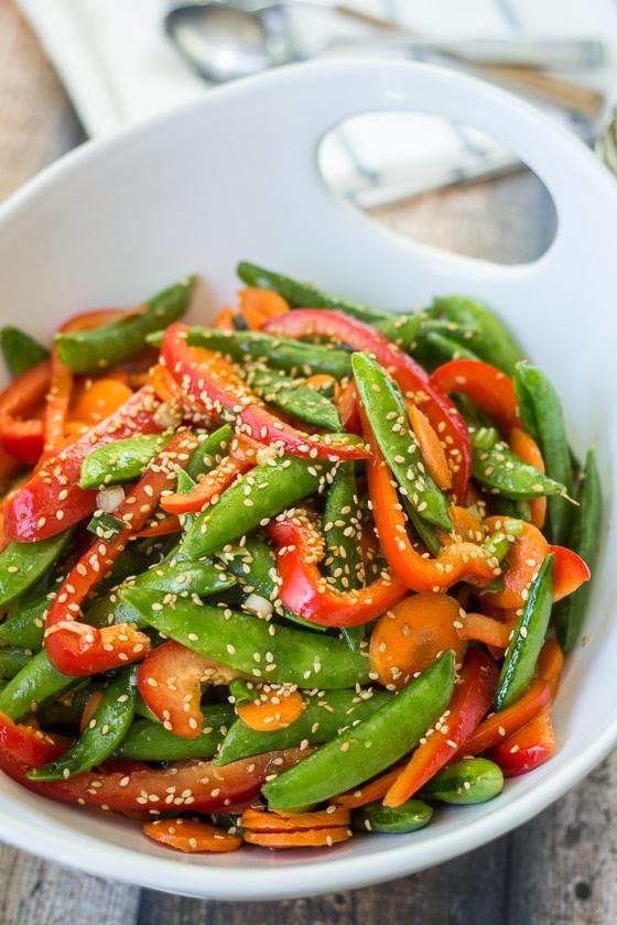 Super-easy and super-quick sugar snap peas salad recipe.