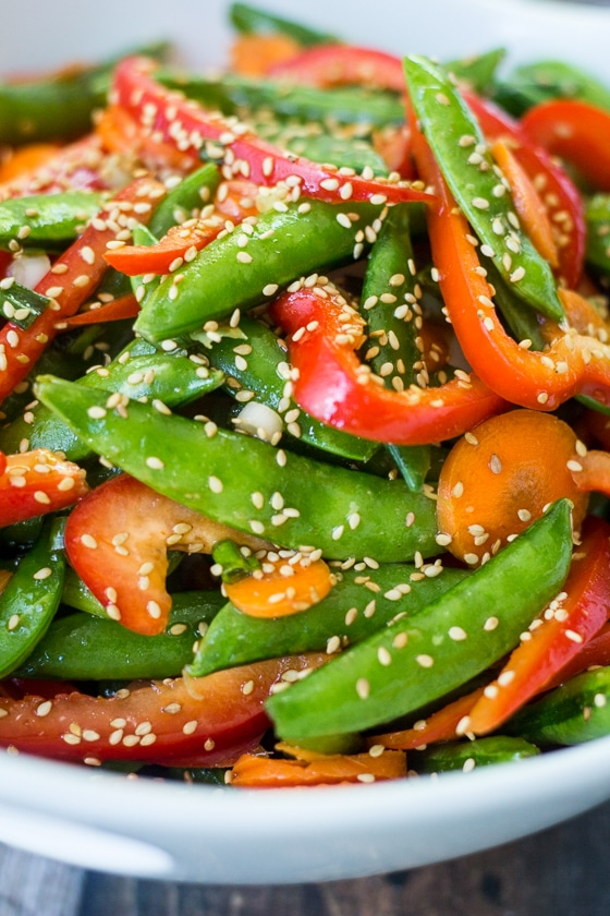 Busy weeknights, last minute potlucks, and overly-complicated main dishes all call for this super-easy and super-quick Sugar Snap Pea Salad Sesame.