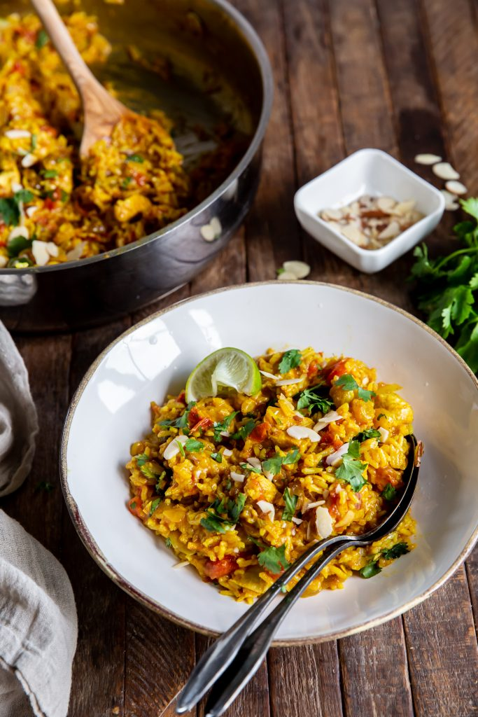 This Simple Biryani recipe uses diced chicken and prepared ginger paste to put this delicious and satisfying dish on the dinner table in no time flat!