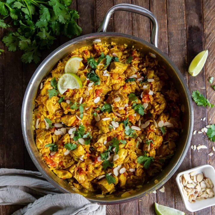This Quick and Easy Chicken Biryani recipe uses diced chicken and prepared ginger paste to put this delicious and satisfying dish on the dinner table in no time flat!