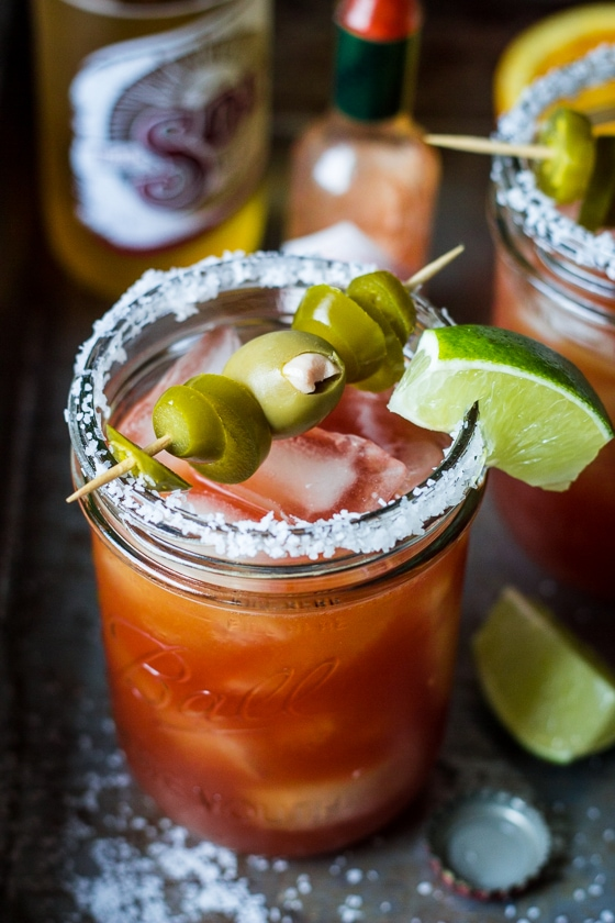 Bright citrus juice, flavorful beer and blanco tequila add refreshing flavor to this twist on a classic Bloody Mary. Michelada Bloody Marys are just the thing for lazy brunches, backyard parties, and friendly fiestas!
