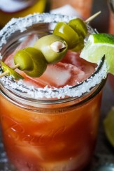 Bright citrus juice, flavorful beer and blanco tequila add refreshing flavor to this twist on a classic Bloody Mary. Michelada Bloody Marias are just the thing for lazy brunches, backyard parties, and friendly fiestas!