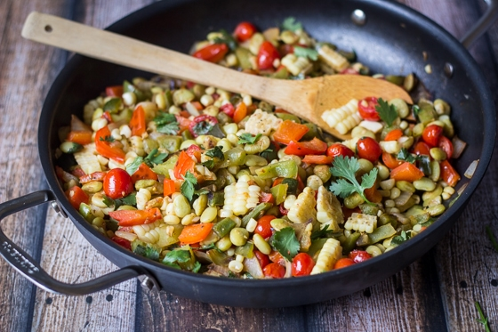 This surprising combination of colors, textures, and tastes make this Corn and Bean Succotash recipe a feast for the senses!