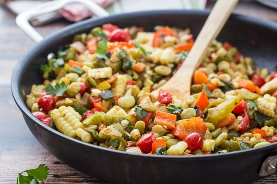 This surprising combination of colors, textures, and tastes make this Mexican Sweet Corn Succotash recipe a feast for the senses!