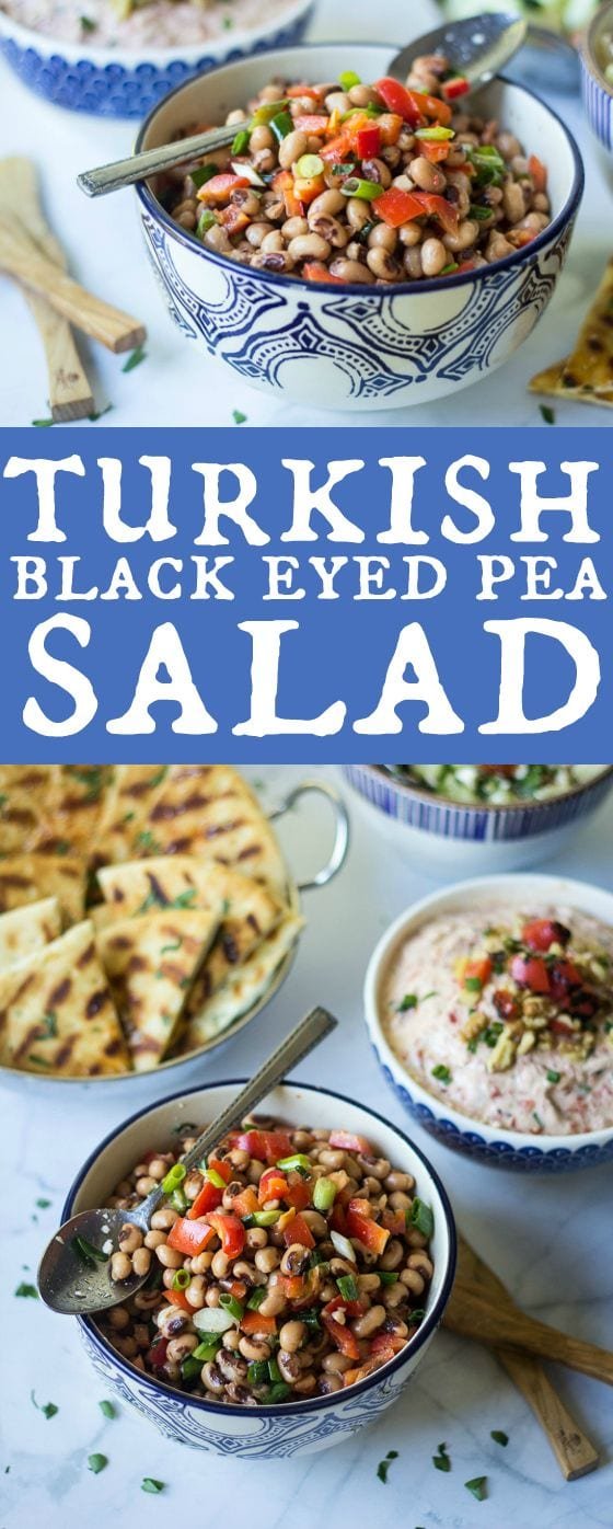 Looking for Turkish meze recipes? Try this one! This Turkish Black Eyed Pea Salad recipe is so easy with a tasty mix of black eyed peas, red bell pepper, scallions, olive oil, lemon juice, sea salt and black pepper for a delicious side dish.