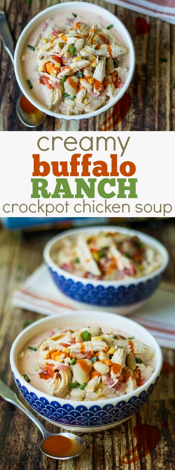 Dinner doesn't get much better than this Creamy Buffalo Ranch Crockpot Chicken Soup! Crave-able flavor, easy prep, and full tummies. Win!