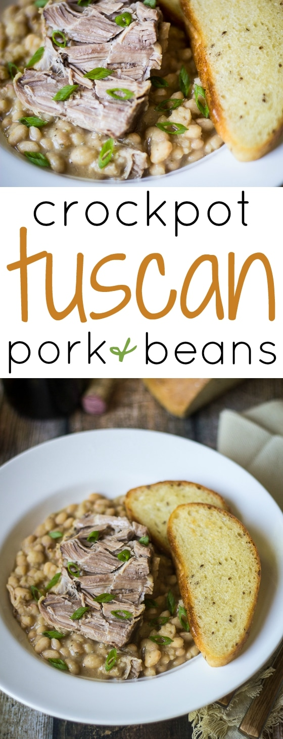 The holy grail of comfort food: Crockpot Tuscan Pork and Beans. Comforting to eat, and comfortable to make; your slow cooker does ALL the work!