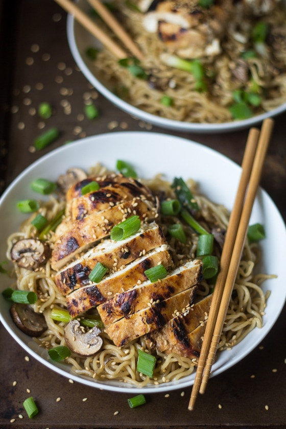 take-out noodle bowl? This Garlic Ginger Chicken with Sesame Noodles ...
