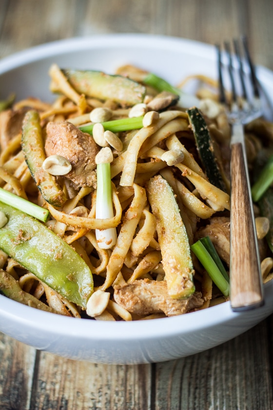 Spicy Szechuan Peanut Noodles with Chicken: Linguine noodles add toothy bite to this spicy Szechuan-inspired dish. These noodles are wonderful piping hot, but are also tasty treat served as a chilled pasta salad.