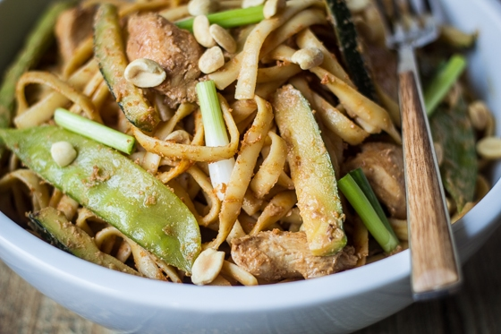 Spicy Szechuan Peanut Noodles with Chicken: Linguine noodles add ...