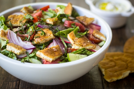 Lebanese Fattoush Salad recipe: So simple, yet packed with flavor! I love this with roast chicken, kebabs, or just as a healthy lunch.