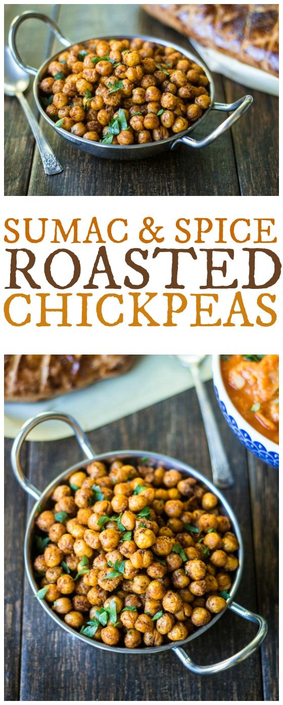 Looking for middle eastern chickpea recipes or recipes with sumac?  This is a great one!  Citrus-scented Sumac and warm Middle Eastern spices add bold flavor to these roasted chickpeas!