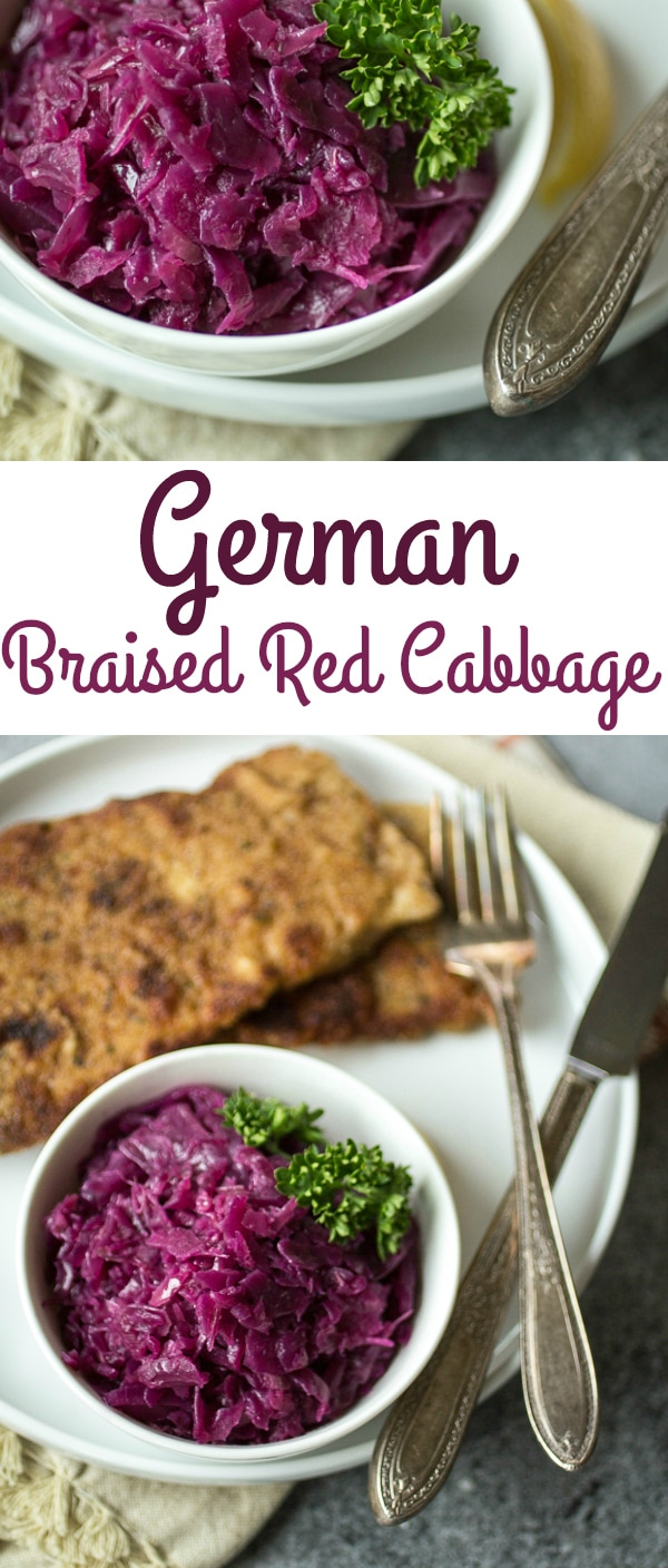 """Juniper berries, green apple, and tangy vinegar give this braised red cabbage German style recipe it's distinctive sweet and sour flavor. Make a big batch of this """"rotkohl"""" and watch it disappear!"""
