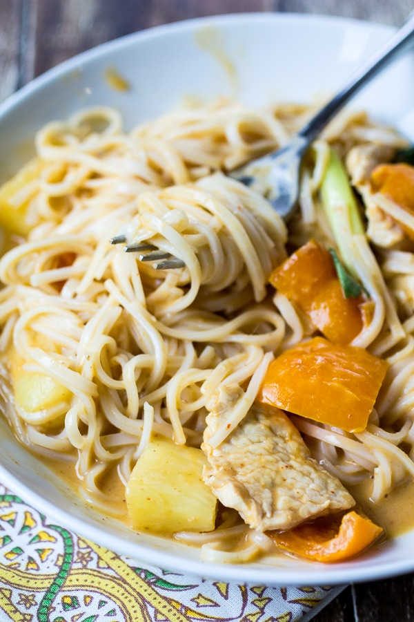 Slurpy Thai Curry Noodles with Chicken and PineappleThe