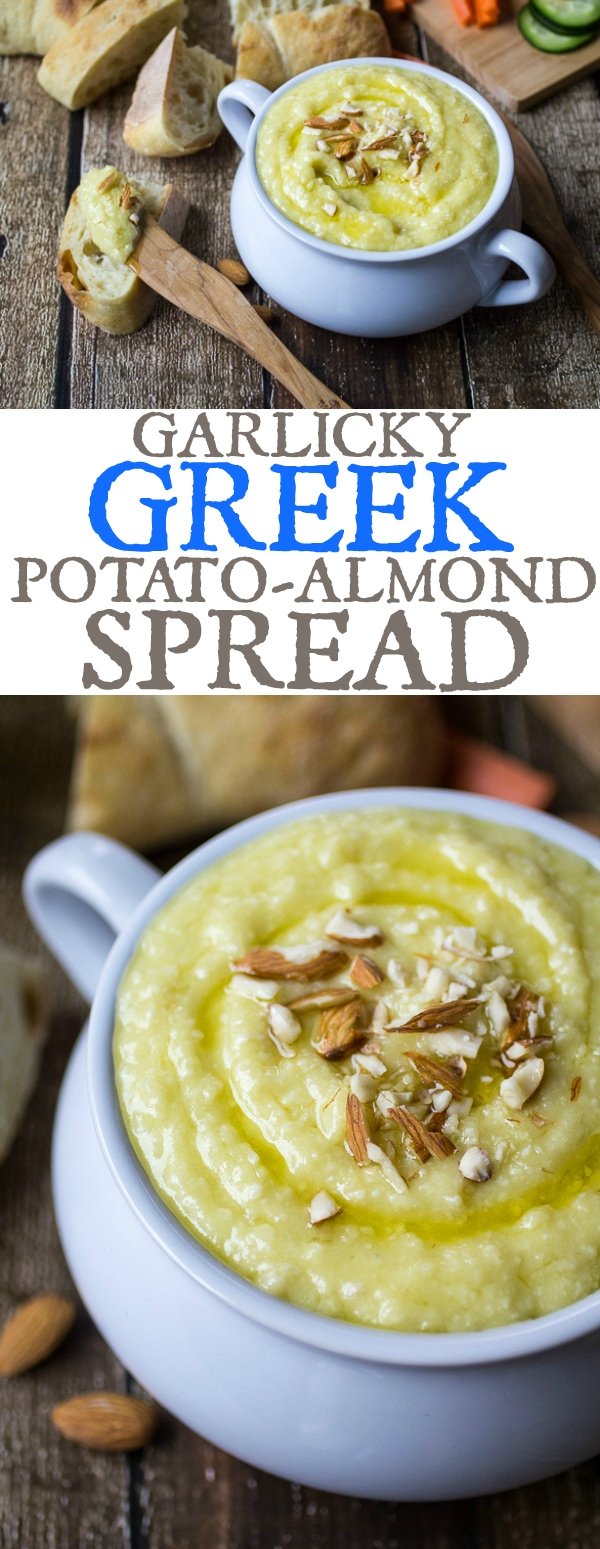 Creamy potato, nutty almonds, and zesty garlic make up this classic Greek meze. Whether enjoyed as a dip or a spread, Potato Skordalia is an addictive snack!