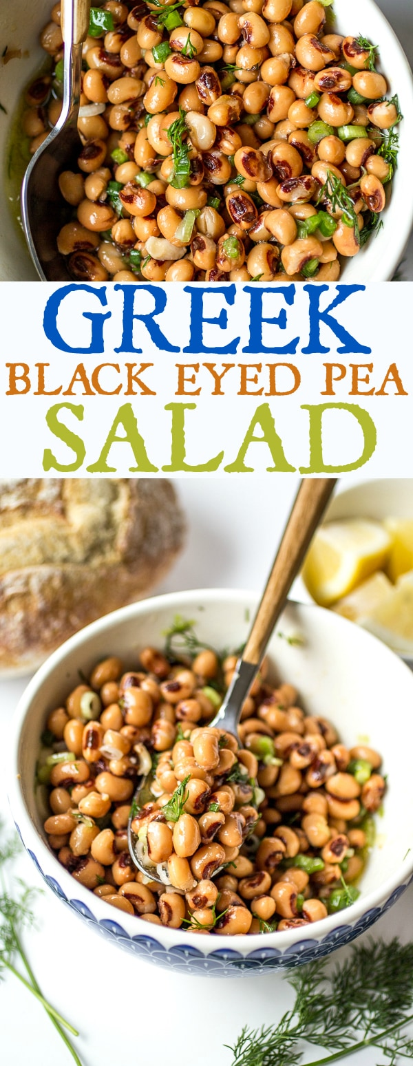 Looking for a black eyed peas Greek recipe?  Here is a great one! Bright lemon juice, quality olive oil, and fresh dill transform a can of black eyed peas into an inspiring salad!