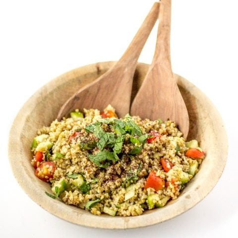Join me on the ancient grain bandwagon! Freekeh is a delightful young wheat with a nutty flavor and a toothy bite. Containing twice as much protein and fiber as quinoa, freekeh salad is dish you can feel good about. If you like tabbouleh, you'll love this Freekeh Salad with Minted Sumac Dressing!