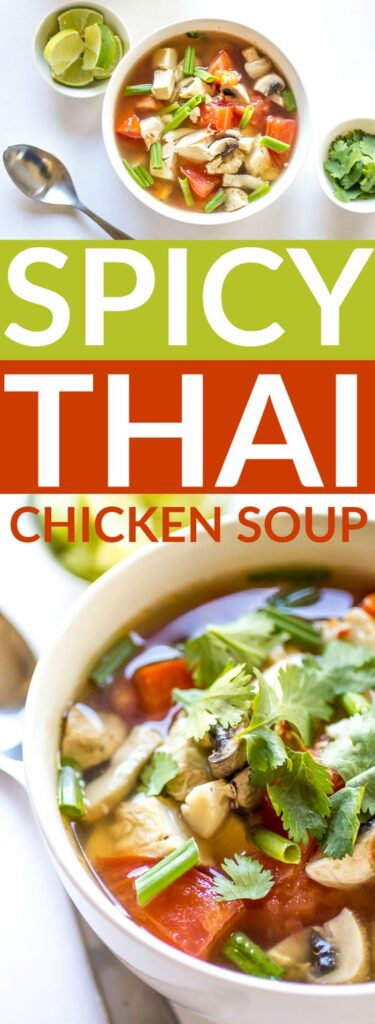 This Spicy Thai Chicken Soup recipe is just what you need when you're feeling under the weather (or just in need of something delicious). Hits the spot every time!
