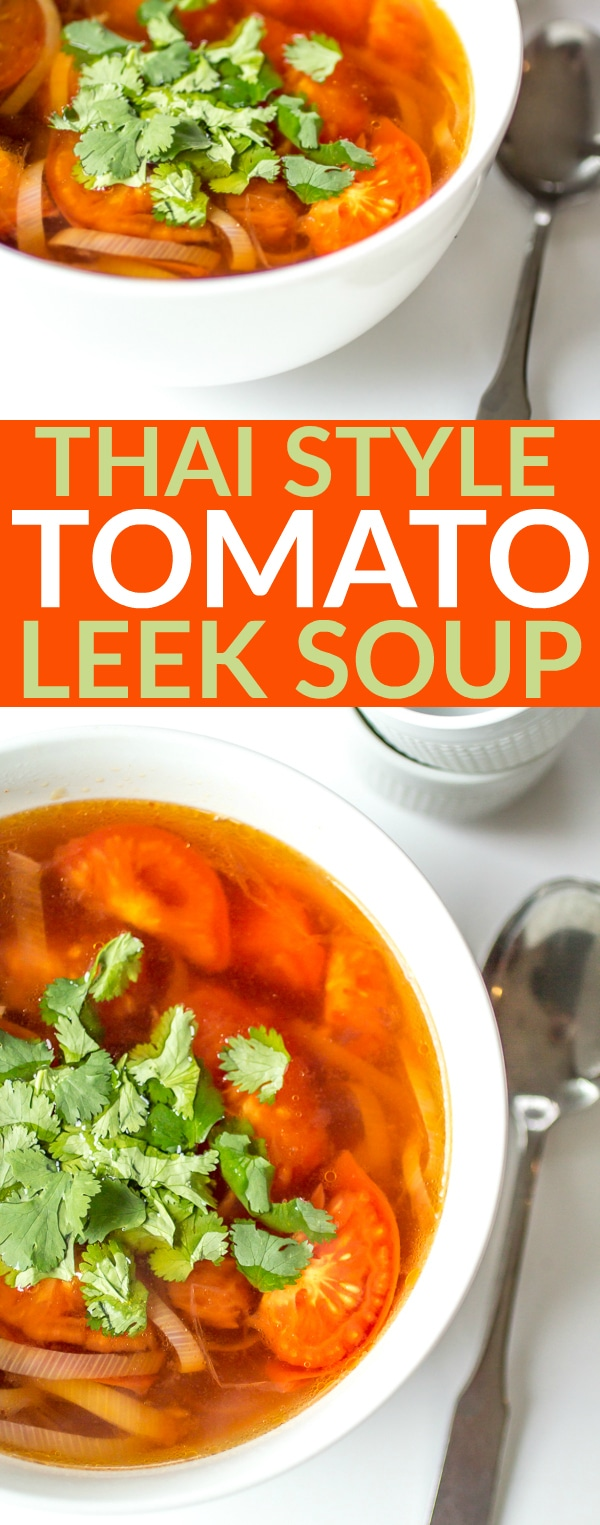 You won't find an easier idea for a delicious lunch or dinner!  This Thai-Style Tomato Leek Soup is a guilt-free fill up that's on the table in 15 minutes - you'll come back to this recipe over and over!