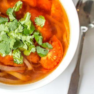 Thai Style Tomato Leek Soup
