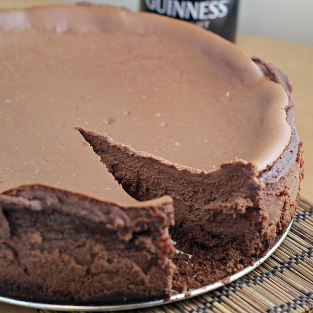 Chocolate Guinness Cheesecake | Just in time for St. Patrick's Day! 12 Vegetarian Guinness Recipes - on thewanderlustkitchen.com