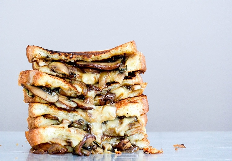 Mushroom, Onion, and Stout Grilled Cheese Sandwiches | Just in time for St. Patrick's Day! 12 Vegetarian Guinness Recipes - on thewanderlustkitchen.com