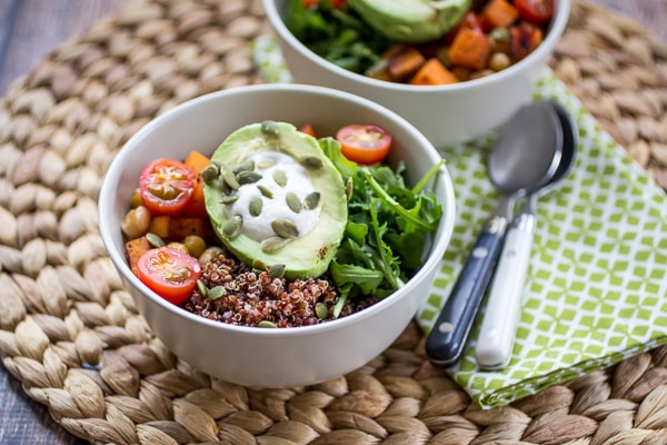 Nothing spoils a great session on the yoga mat like a not-so-wholesome meal. These yogi bowls are filled with protein-packed quinoa, arugula, and pepita seeds. Tomatoes add a bright burst of flavor, while avocado and cashew sauce add a creamy texture to the mix. These bowls will become your favorite post-workout fix!