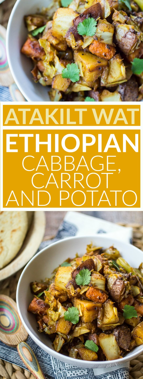 This easy Ethiopian Cabbage Carrot dish one of my favorite parts of any Ethiopian meal! Humble Atakilt Wat is made from cabbage, carrots, and potatoes spiced with fragrant Berbere seasoning. Serve it with simmered lentils and Ethiopian flatbread for an easy weeknight dinner!