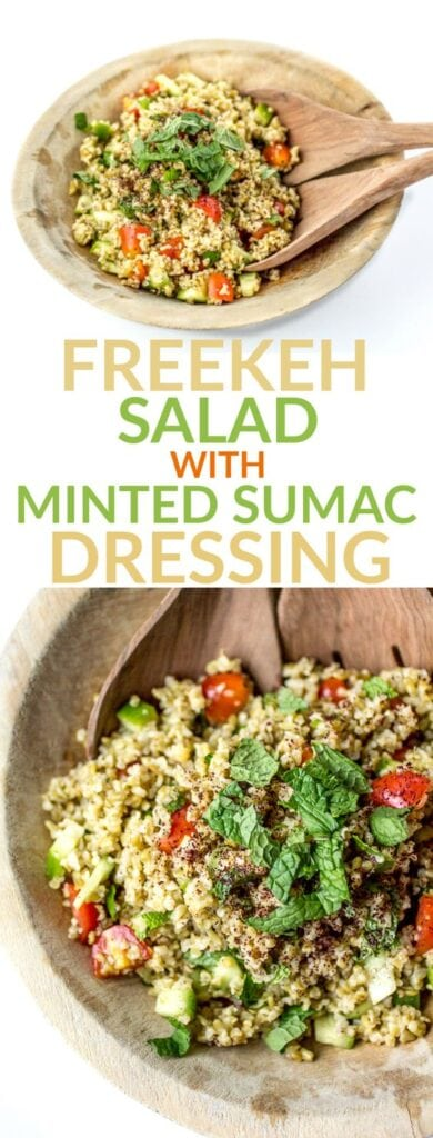 Containing twice as much protein and fiber as quinoa, freekeh salad with minted sumac dressing is a delicious dish you can feel good about.