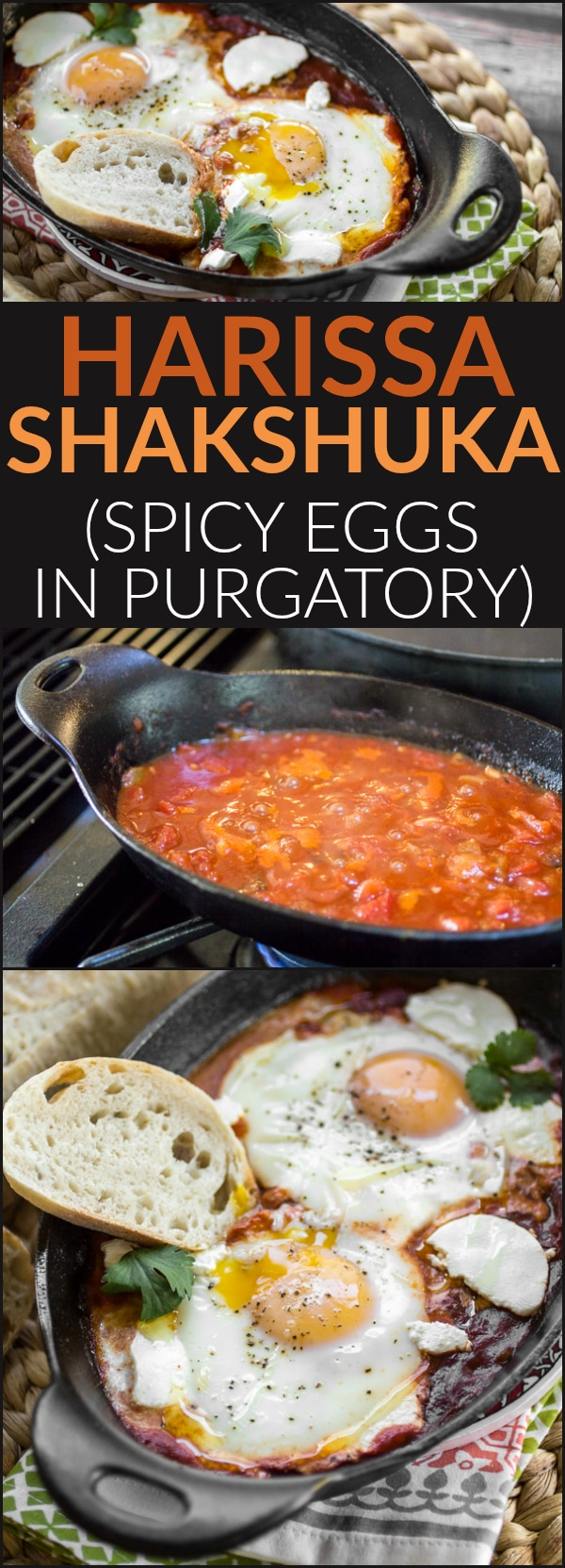 Whether enjoyed first thing in the morning, or as an easy breakfast-for-dinner, this classic dish of eggs simmered in spicy tomato sauce will both delight and satisfy. Be sure to serve your Shakshuka (or, eggs in purgatory) with plenty of crusty bread for dipping!