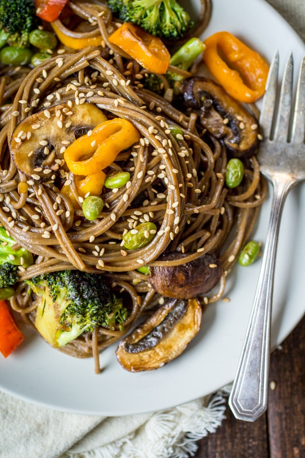 It doesn't get much simpler than this! For nights when even looking through a take-out menu seems like too much work, use up some leftover veggies to make this vegetarian soba noodle stir fry.