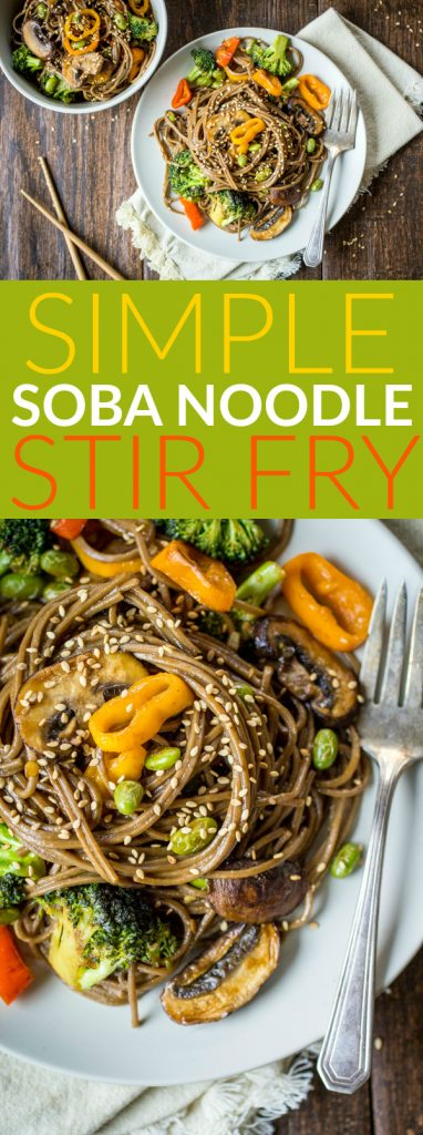 It doesn't get much simpler than this Soba Noodle Stir Fry recipe! For nights when even looking through a take-out menu seems like too much work, use up some leftover veggies to make this vegetable soba noodle stir fry.