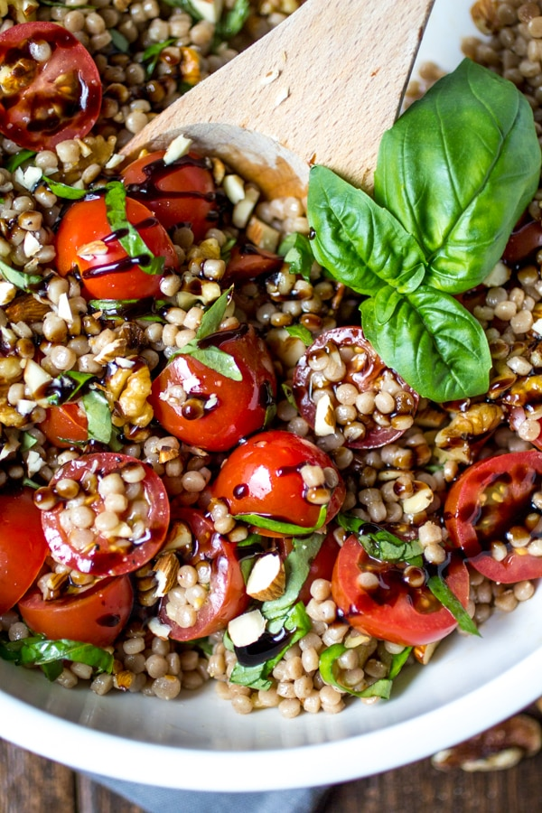 Tomato Basil Israeli Couscous Salad The Wanderlust Kitchen