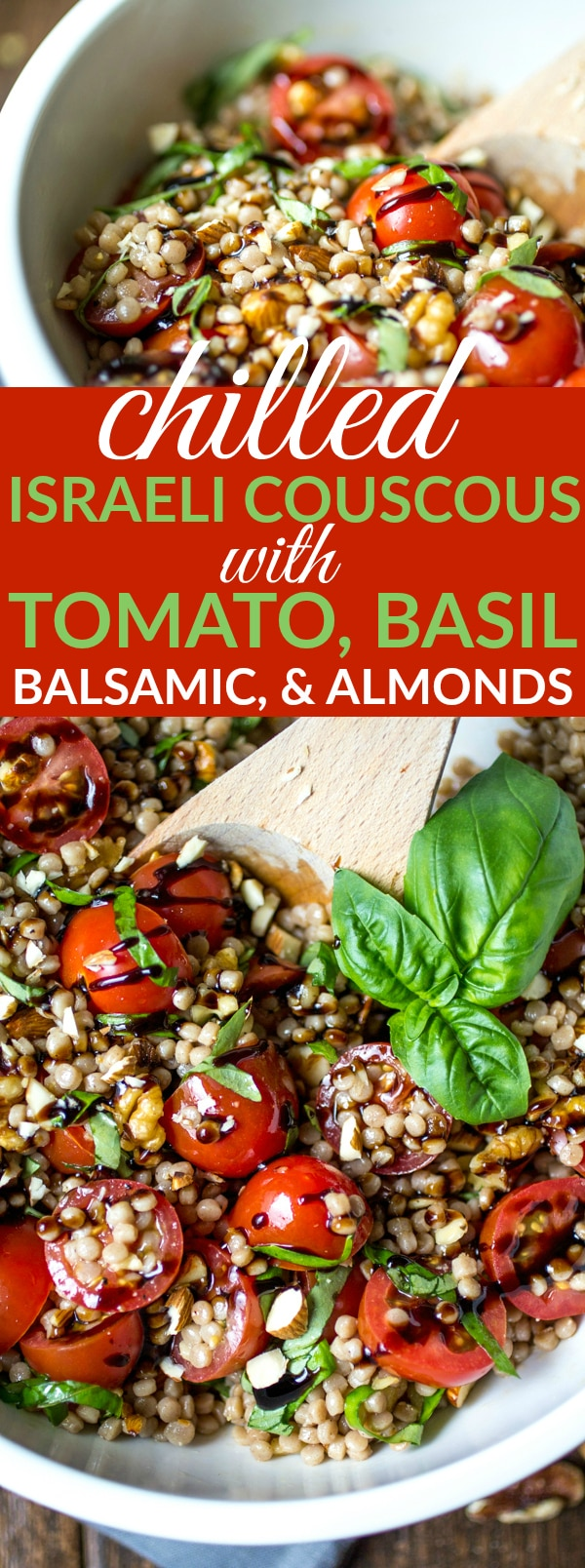 "Whether you call it ""pearl couscous"" or ""Israeli couscous,"" there's everything to love about these little balls of pasta. In this recipe, chilled couscous is coated in a simple olive oil dressing, then tossed with tomatoes, basil, and almonds before being finished with a generous drizzle of balsamic glaze. Healthy and delicious!"