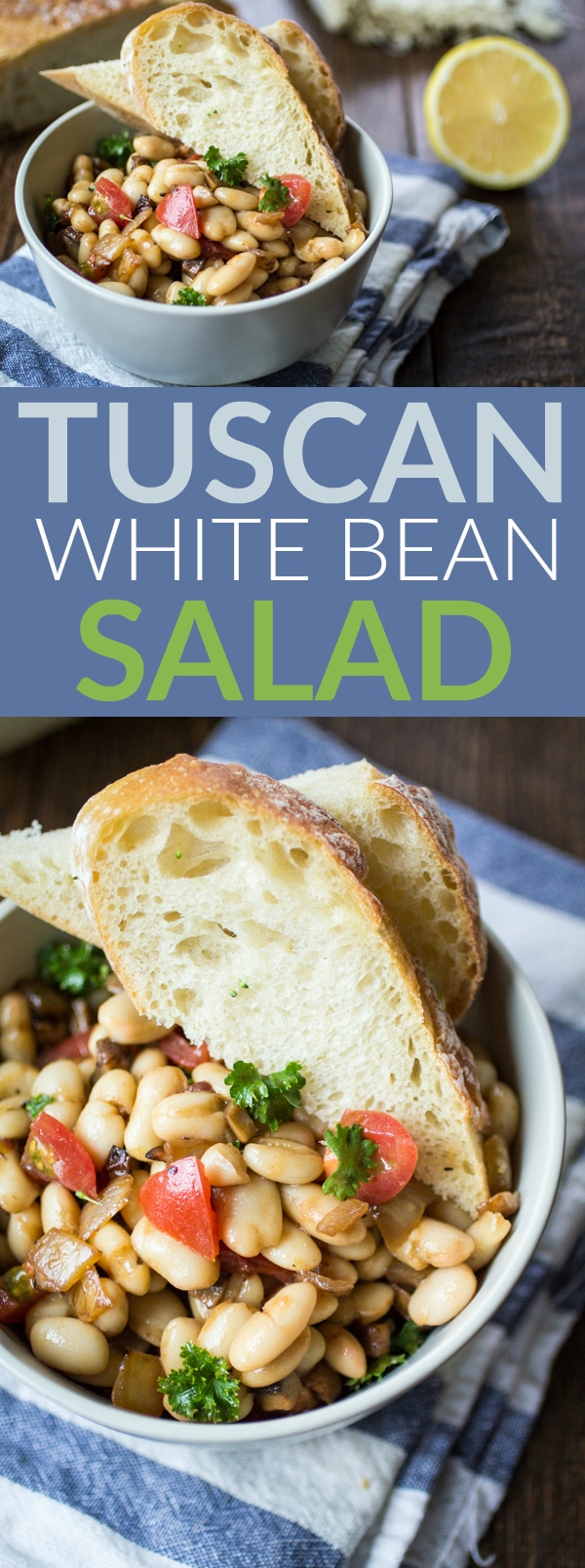 Sometimes, all you want for dinner is bread, butter, and wine. Class that up a bit with this Tuscan White Bean Salad! Eat on top of buttered crusty bread and serve with a glass of red wine - dinner is served!