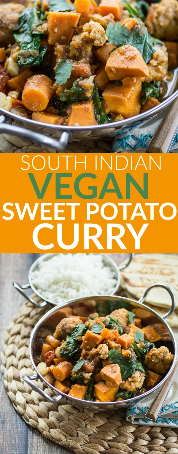Sweet potatoes are my very favorite dirt candy! In this South Indian style sweet potato curry, bold spices are simmered with carrots, cauliflower, spinach, and (of course!) sweet potatoes!