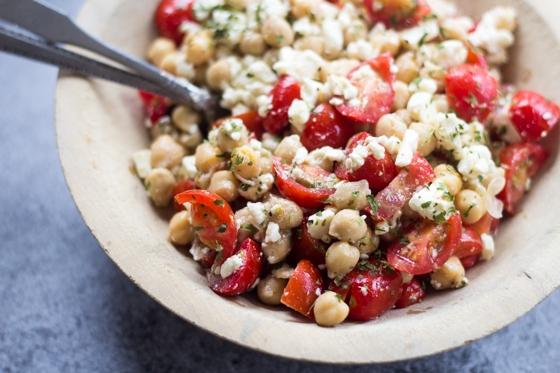 10-Minute Mediterranean Chickpea Salad + Bread + Wine | Make Ahead Meatless - Week 9 - Wanderlust Meal Plan