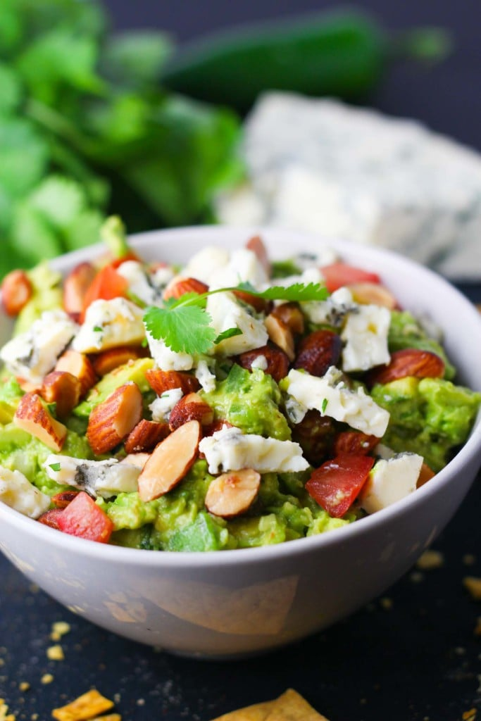 Blue Cheese Guacamole with Smoked Almonds | A week of delicious recipes inspired by places around the world!