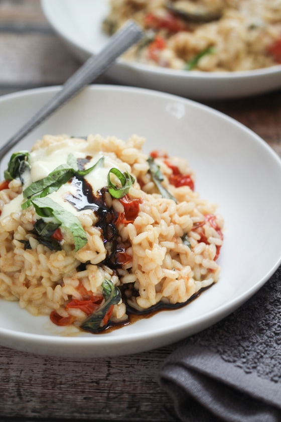 Burst Tomato and Basil Risotto with Mascarpone and Balsamic Reduction | Inspired Italian Recipes - Week 7 - Wanderlust Meal Plan