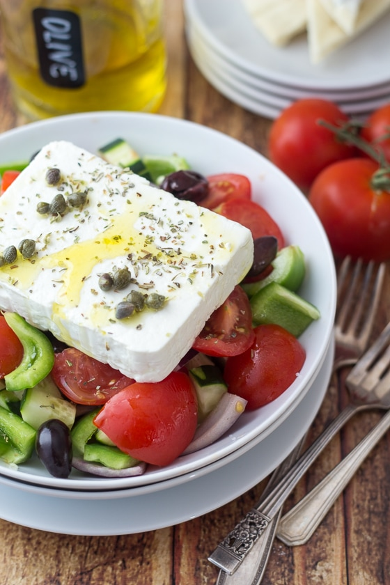 Authentic Greek Salad | A week of delicious recipes inspired by places around the world!