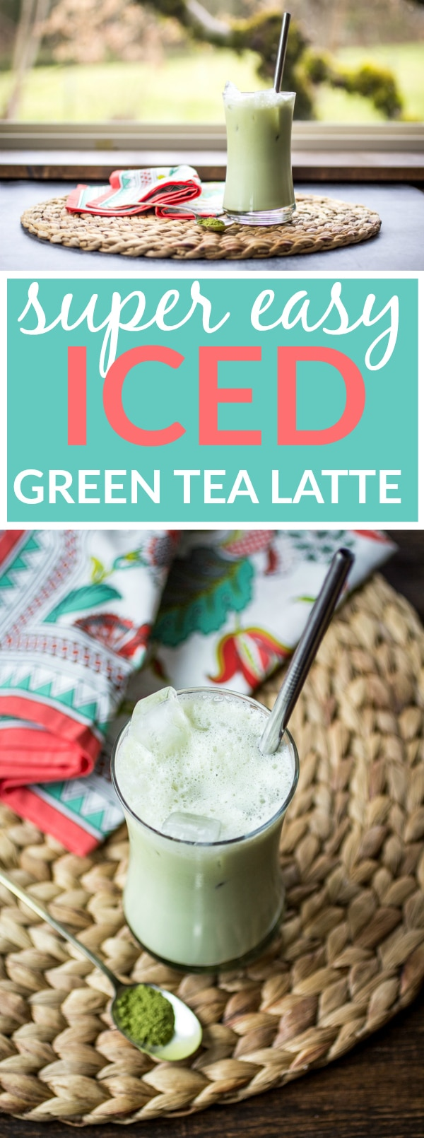 A simple concoction of matcha powder, sugar, milk, and ice makes up this easy ice green tea latte!