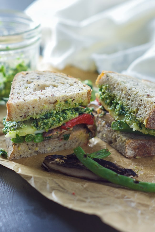 Farmer's Market Roasted Vegetable Sandwich with Skinny Pesto