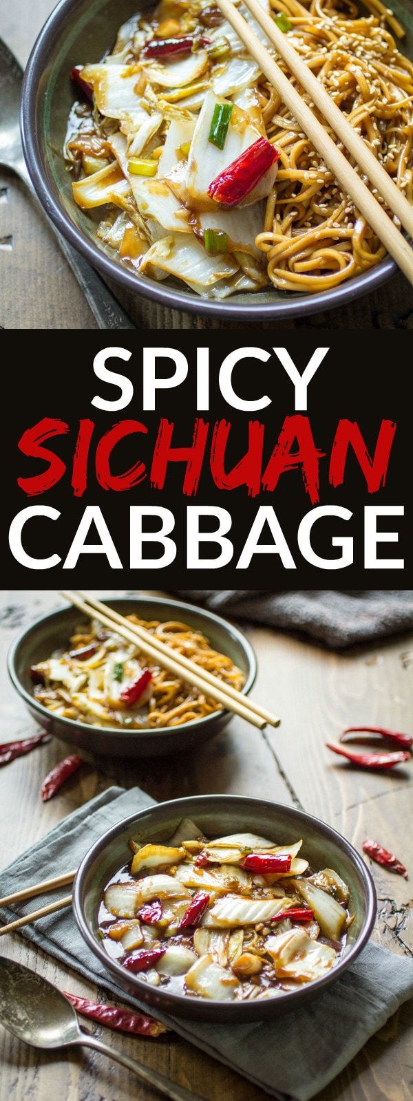 Spicy Sichuan Cabbage | This hot and sour stir-fry features crunchy napa cabbage, fiery red chiles, and bright green onion. The perfect 20-minute side dish for Chinese food at home!