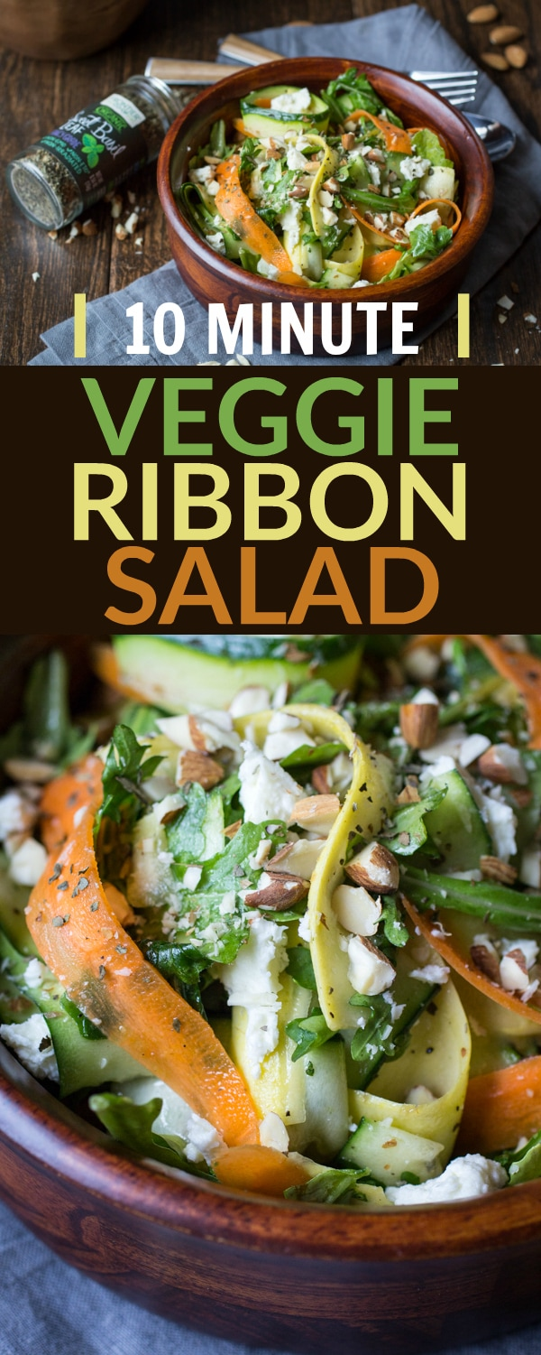 Ten minutes and a trusty vegetable peeler are all you need to make this easy veggie ribbon salad. Tossed in a homemade dressing and studded with crunchy almonds and tangy feta cheese, this colorful salad is the perfect potluck dish!
