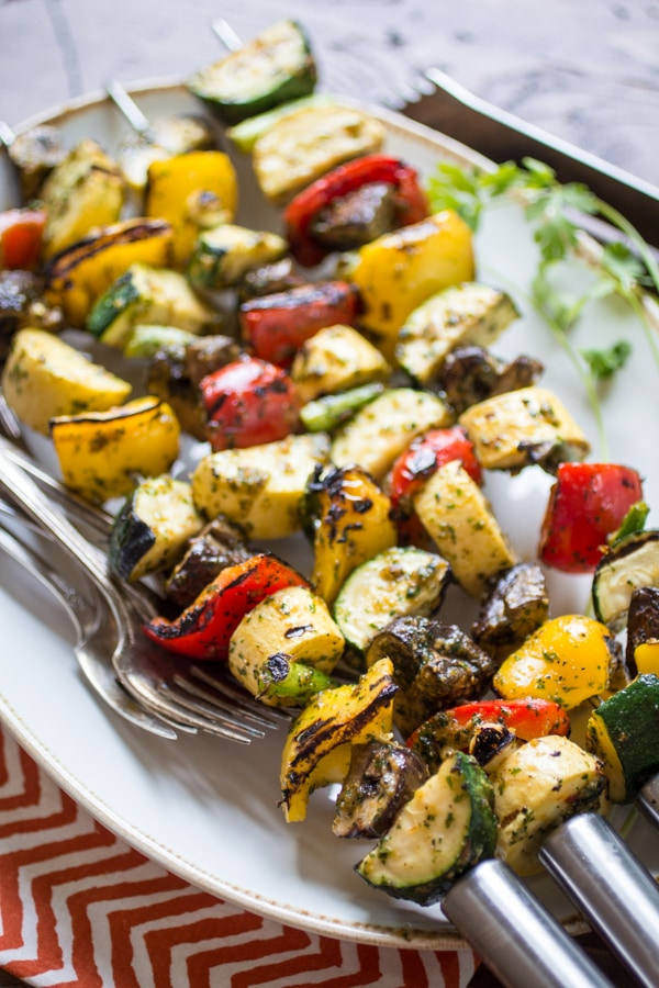 A cilantro-heavy marinade is the star in this versatile recipe for Spicy Thai-Style Grilled Veggie Skewers. An easy side-dish for a summer BBQ, these veggies can also take the center stage when served atop a bowl of rice or noodles. Add this recipe to your vegetarian grilling recipes as it is delicious!