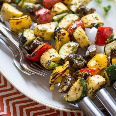 A cilantro-heavy marinade is the star in this versatile recipe for Spicy Thai-Style Grilled Veggie Skewers. An easy side-dish for a summer BBQ, these veggies can also take the center stage when served atop a bowl of rice or noodles.