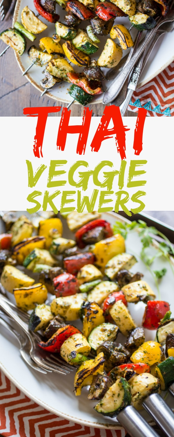 A cilantro-heavy marinade is the star in this versatile recipe for Spicy Thai-Style Grilled Veggie Skewers. An easy side-dish for a summer BBQ, these veggies can also take the center stage when served atop a bowl of rice or noodles. Looking for vegetarian BBQ ideas or BBQ veggie ideas, then look at this delicious recipe!